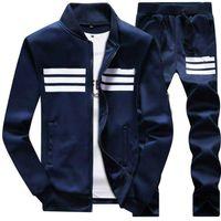 casaco de pano para homem venda por atacado-Nova Marca Designer de Treino de Luxo Homens Sportswear Inverno Hoodies Casaco Solto Mens Moda Treinos Zipper Moletons Conjuntos Plus Size Pano