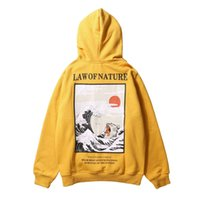 Wholesale japanese online - Japanese Embroidery Funny Cat Wave Printed Fleece Hoodies Winter Japan Style Hip Hop Casual Sweatshirts Streetwear