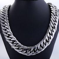 ingrosso catene di argento pesanti argento-Fashion Gift 18mm Mens Chain Boy Biker Heavy Tone Cut argento doppio Curb Link Rombo 316L Collana in acciaio inossidabile gioielli DLHN54