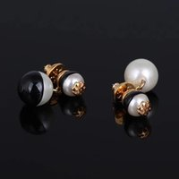 Wholesale large gold stud earrings - New arrival Top brass material Brand name black and white large Pearl beads in 1.5cm and smaol 0.8cm stud Earring 18k gold plated women dro