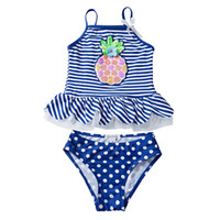 Wholesale large pineapple - UPF 50 UV Swimwear Sequins Pineapple Embroidery Falbala Striped Dots Printed Vest Ensembles 2 pièces Costumi da Bagno Toddler Girls Clothing