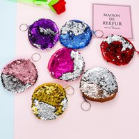 Wholesale Fabric Sparkles - Mermaid Sequins Creative Headset Storage Bag Sparkling Round Coin Purse Practical Zipper Wallet Colorful New Pattern 2 9sm X