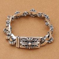 thailändische silberne armbänder männer großhandel-Großhandel S925 Sterling Silber Schmuck Retro Thai Silber Handwerk Persönlichkeit Männer Trend Neue Armband Stil