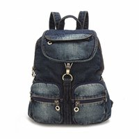 Wholesale Blue Jeans Cover - 2017 Small Vintage Navy Blue Deinm Backpack with Cover High Quality Women Daily Backpacks for Travel 2colors Casual Jeans Bag