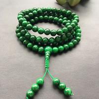 изумрудный браслет оптовых-Натуральное ожерелье Бирма Изумрудное ожерелье изумрудный сухой зеленый железный дракон браслет 108 бусин Будды для мужчин и женщин