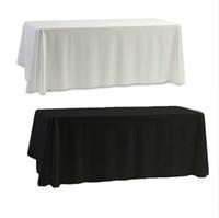 wedding table covers toptan satış-Beyaz Siyah Masa Örtüsü Masa Örtüsü Ziyafet Düğün Parti Dekor için 145x145 cm Düz Boyalı Ev Decorartion