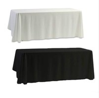 Discount plain table cloths - White Black Table Cloth Table Cover for Banquet Wedding Party Decor 145x145cm Plain Dyed Home Decorartion
