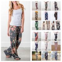Wholesale harem trousers free pattern resale online – 28 color Floral Yoga Fitness Wide Leg Pant Women Casual sports Pants Fashion Harem Pants Palazzo Capris Lady Trousers Loose Long pant