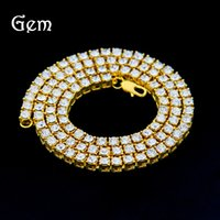 Wholesale Gold Rope China - Men's hip hop 1 row alloy necklace full diamond single row necklace popular accessories