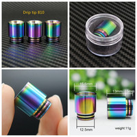 Wholesale steel drip tips - 510 810 Thread Drip Tips Rainbow Color Stainless Steel SS Drip Tip for Wide Bore Mouthpiece TFV8 TFV12 Prince Tank Bulb Glass DHL