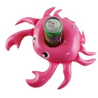 bote flotante al por mayor-Mini cangrejo inflable portavasos flotante sostenedores de la bebida anillo de natación juguetes de agua del partido Bebidas embarcaciones Titular bebé piscina juguetes