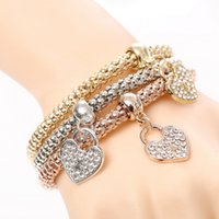 Wholesale Letter Bracelets For Men - 3PCS Set Crystal Bracelets & Bangles 2018 Gold Wrap Charm Bracelets Femme for Women Men Fashion Jewelry Multilayer Bijoux