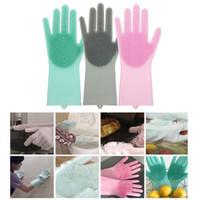 sihirli toz temizleyici toptan satış-Yeni Sihirli Silikon Scrubber Kauçuk Temizleme eldiven Eldiven Toz Bulaşık Yıkama Pet Bakım Bakım Saç Araba Mutfak Yardımcı Scrubber Temizleme