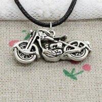 Wholesale handmade cord necklace - New Fashion Tibetan Silver Pendant motorcycle motorcross 34*16mm Necklace Choker Charm Black Leather Cord Handmade Jewelry