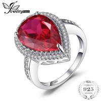 amuletos de pera al por mayor-Venta al por mayor de lujo Pear Cut 7ct creado Red Rubies Real 925 anillo de compromiso de plata esterlina para las mujeres encantos joyería de piedra gema
