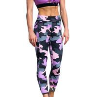 kamuflaj fitness pantolon toptan satış-Kadınlar Kamuflaj Spor Yoga Egzersiz Gym Fitness Egzersiz Atletik Legging Pantolon