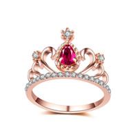 doğum günü tacı renkleri toptan satış-Taç Rhinestone Yüzük Kadınlar Için Trendy Prenses Kraliçe Doğum Günü Hediyesi Gümüş Renk Kübik Zirkonya Nişan Düğün Promise Yüzükler Takı