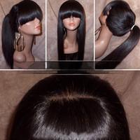 tam pat peruk toptan satış-Tam patlama ile ipeksi düz dantel ön peruk at kuyruğu brezilyalı bakire insan saçı tam dantel peruk kadınlar için doğal renk