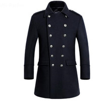 erkek yün palto uzun toptan satış-2017 Kış Yeni Uzun Erkek Palto Yüksek Kalite Kruvaze Erkekler Yün Ceket