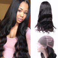 insan vücudu dalgası dolu peruk toptan satış-Brezilyalı Virgin İnsan Saç Öncesi Koparıp Tam Dantel Peruk Vücut Dalga Dantel Ön Peruk Bebek Saç Doğal Renk Ile