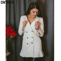 blaser giysileri toptan satış-Yeni Moda Kadınlar Blazer Elbise Workwear Ile Beyaz Fırfır Ofis Bayanlar Uzun Blaser Giyim Güz Altın Düğme İlkbahar Yaz Sonbahar Elbiseler