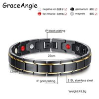 Wholesale infrared bracelet - whole saleGraceAngie Men's Black Gold Color Healing Energy Infrared Negative Ion Germanium Stainless Steel Magnetic Bracelet Bangle Gifts