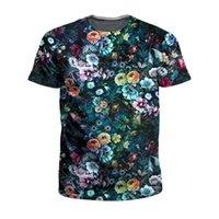 camisa de los hombres sobre la impresión al por mayor-ALMOSUN flores oscuras 3D por todas partes imprimir camisetas manga corta Hipster moda Hip Hop camisas Top Tee mujeres hombres tamaño EE. UU.