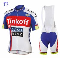 Wholesale viscose polyester suit - 2018 hot tour de france cycling jerseys Bike Suit cycling jersey Tinkoff saxo 9 colors cycling jersey +short Bib Pants sets