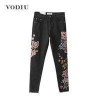 ingrosso lycra elastico-Jeans donna ricamo a vita alta sottile allentato elastico nero Cina National Dragon Floral Bottom Casual pantaloni lunghi pantaloni femminili