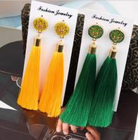 ingrosso gioielli di costume della boemia-Orecchini di goccia fatti a mano della boemia lunga di multi colore delle donne di nuovo modo 2018 degli orecchini Monili all'ingrosso