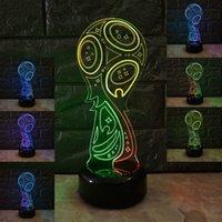 ingrosso aa tazze-Partita di calcio doppio colorato tocco remoto LED lampada mondo coppa regalo 3D piccola luce di notte Decorazione luce Dropshipping all'ingrosso