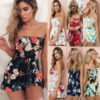 Wholesale bohemian jumpsuits - Summer Bohemian Rompers Floral Printed Stomacher Siamese Trousers Lady Slash Collar Off Shoulder Women Sweet Jumpsuits
