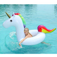 Wholesale pool toys games - 120*90CM Medium Size Unicorn Swimming Float Inflatable Pool Float Swimming Circle For Teenager Beach Summer Water Game Party Toy