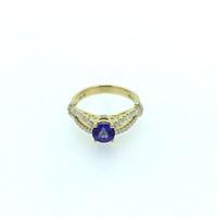 anillos de tanzanita oro 18k al por mayor-ANI 18 K Oro Amarillo (AU750) Anillo de Boda para Mujer Certificado I / SI 1.058 ct Anillo de Diamante de Tanzanita de Corte Redondo para Joyería de Compromiso S923