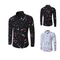 camisa causal do vestuário dos homens venda por atacado-Nova Moda Mens Camisa de Manga Longa 3D Splash Impressão de Tinta Camisas Dos Homens Causal tops Turn-down Collar Plus Size Vestido Man Camisa