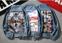 Wholesale vintage denim jackets for men - Mens Jean Jackets suprme & apes washed broken denim jacket Hip Hop pablo Irregular Ripped Denim Jacket Men Homme for lovers young