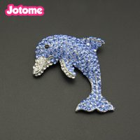 Wholesale fish pins resale online - Beautiful Charming Blue crystal rhinestone Dolphin Fish Silver Tone Brooch Pin as a gift for women girl child lover