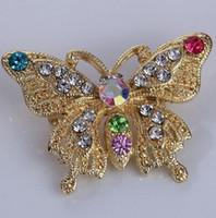 jade schmetterling gold großhandel-1 Stücke Mode Schmetterling Stil Glänzende Kristall Brosche Frauen Party Schmuck Exquisite Bunte Metall Brosche Zubehör