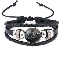 Wholesale Game Day Bracelet - Game of Thrones House Stark Wolf Glass Cabochon Leather Bracelets Multi Layers Weave Handmade Punk Black Men Bracelets drop shipping 320044