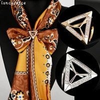 Wholesale bridal clips brooches for sale - Group buy Bridal Triangle Scarf Buckle Gold Color Multi Function Small Bending Circle Rings Wedding Scarf Clips Brooches