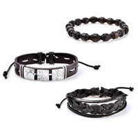 Wholesale leather beaded wrap bracelets wholesale - Multilayer PU Leather Bracelet Men Jewelry Vintage Punk bead Bracelet Punk Wrap Bracelets For Women Casual Men Jewelry drop ship 320097