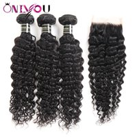 Wholesale wavy human hair extensions for sale - Big Promotion Deep Wave Human Hair Weave Bundles with Closure Brazilian Deep Curly Virgin Hair and Lace Closure Wet and Wavy Hair Extensions
