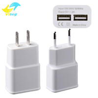 Wholesale 5v 2a Tablet Charger - 2018 Universal 5V 2A Dual USB Port Wall Adapter Charger Charging US EU Plug For Phone Tablet with Package