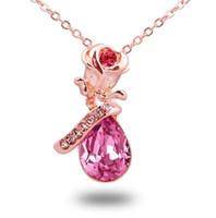 a8eecc117fc74 Rose flor diamante rosa de ouro pingente de colar com cristais elemento  swarovski strass prata colar de jóias para mulheres presente dos namorados