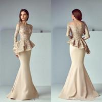 arabische designer abendkleider großhandel-Designer Arabisch Dubai Gold Lace Stain Meerjungfrau Abendkleider 2019 Langarm Rüschen Lange Abendkleider Abend Party Kleider BA8170