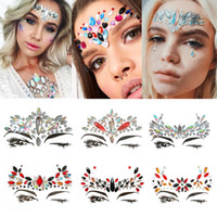Wholesale crystal stickers - Handpicked Bohemia Tribal Style 3D Crystal Sticker Face And Eye Jewels Forehead Stage Decor Temporary Tattoo Sticker
