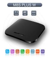 Wholesale mini pc 8gb - M8S Plus W Android 7.1 Amlogic Quad core 1GB 8GB TV BOX Ultra Thin Smart Media Player With 2.4G WiFi 4K USB 2.0 Mini PC
