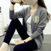 Wholesale uniform cardigan sweater - A short section of all-match baseball uniform spring 2016 new sweater jacket fit Korean knit cardigan thin coats