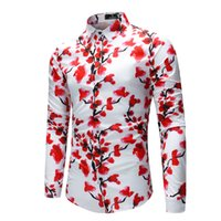 Wholesale clothes chinese style men for sale - Chinese Style Floral Print Men Shirt Long Sleeve Elegant Plum Blossom Pattern Mens Clothing Fashion Dress Shirt Men M XL