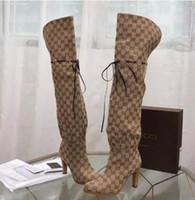 кожаные сапоги женщины за колено оптовых-Шикарный фирменных женщин гибискус красный бежевый холст над-колено загрузки дизайнер кожа 7,5 см сапоги на высоком каблуке
